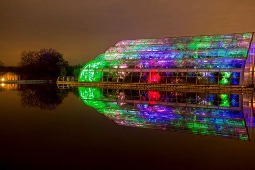The Glasshouse lit as part of Wisley Glow